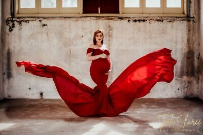 AU65 • Buy Wine Red Off Shoulder Maternity Dress Gown With A Train Photo Shoot Pregnant