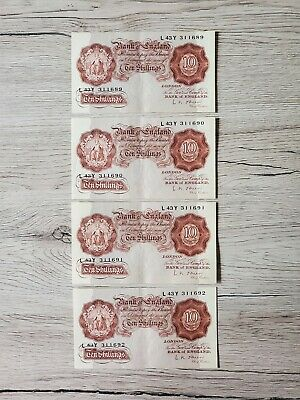 The Bank Of England Ten Pound Sequencial 10 Shilling Notes,Excellent Condition, • 75£