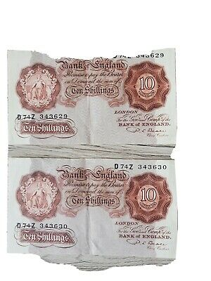 Bank Of England Ten Shilling Sequencial Notes, Cashier Beale, Excellent... • 30£