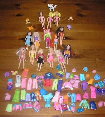 14 Polly Pocket Dolls - Pets And Large Assort Of Clothes Inclusing 1 Male Doll • 7.50£