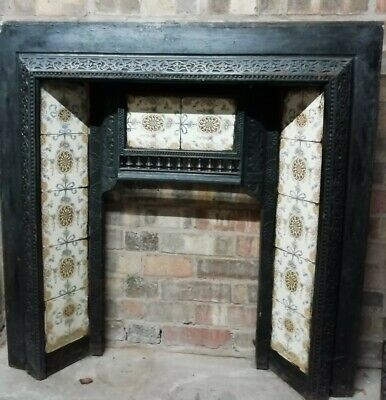 Victorian Cast Iron Fireplace Insert With Tiles • 150£