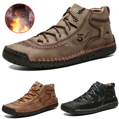 Mens Combat Military Army Ankle Boots Lace Up Bootie Winter Warmer Flat Shoes • 25.99£