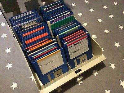 Box Of 100 Amiga Disks - Floppy Bundle With Large Disk Box, Tested A Few All OK • 7.50£