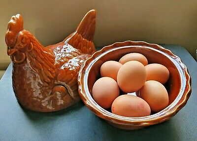 Vintage Retro Brown Ceramic Chicken/Hen Egg Holder Basket Storage • 18£