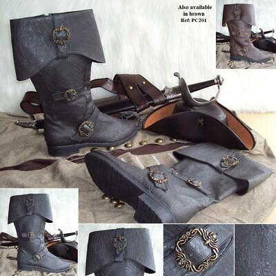 £84 • Buy Caribbean Pirate Distressed Leather Look Boots. Ideal For Costume, Or LARP