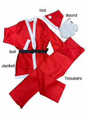 £5.99 • Buy SANTA CLAUS COSTUME Father Christmas Suit Complete Fancy Dress Outfit Adult Hat