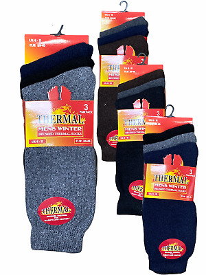 12 Pairs Mens Thermal Winter Socks Thick Cotton Blend Warm Ski Hike Outdoor 6-11 • 1.99£