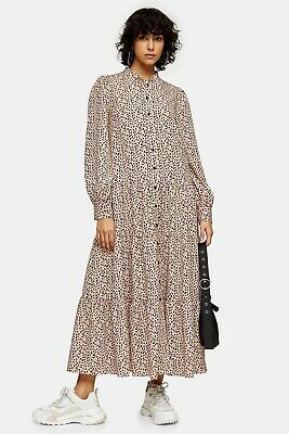 Topshop Leopard Dalmation Tiered Layered Midi Dress Blogger Sold Out Bnwt • 32£