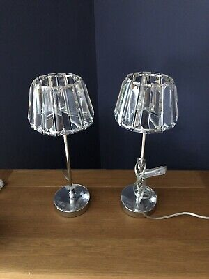 2 X Laura Ashley Bedside Lamps,  Capri Crystal Glass Shades With Polished Chrome • 17.20£