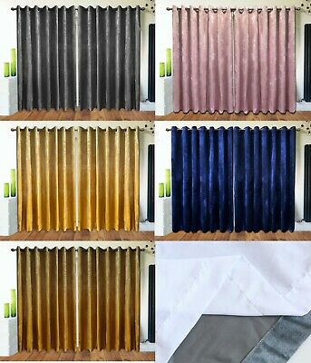 £44.99 • Buy Eyelet Curtains Ring Top Plush Velvet ReadyMade Lined ITALY PLAIN Navy Pink Gold