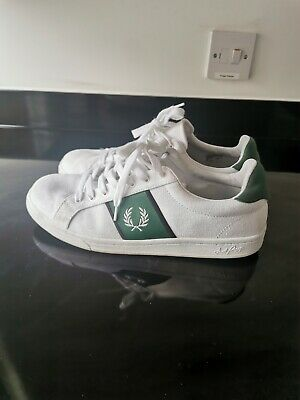 Men's Fred Perry White Canvas Shoes Trainers Size 10 UK 45 EUR • 7£
