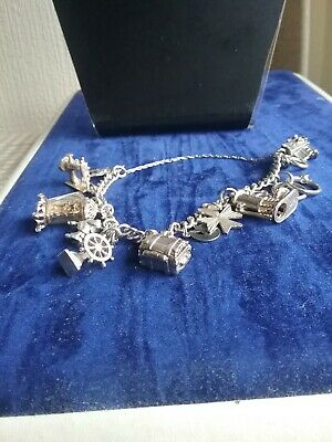 Vintage Sterling Silver Charm  Braclet With 13 Charms And Weighs 44 Grams • 65£