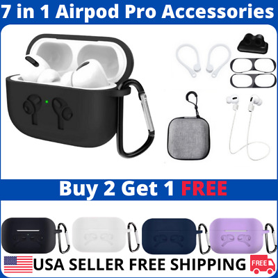 $ CDN13.26 • Buy For AirPods Pro Case Full Protective Silicone Cover Kit 7 In 1 Set Accessories