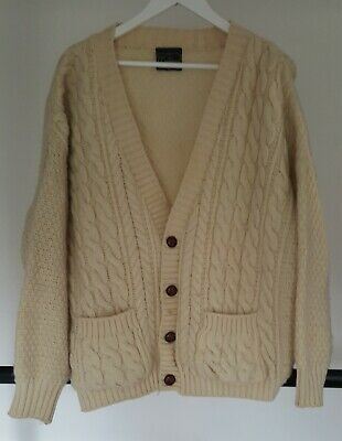 Vintage Traditions Aran Cable Knit Cream Cardigan Size L • 22.99£