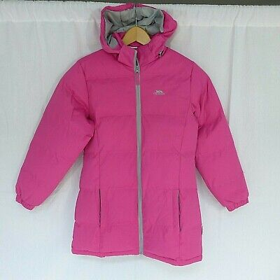Girls Trespass Pink Hooded Padded Winter Coat Age 11-12 Years • 5£