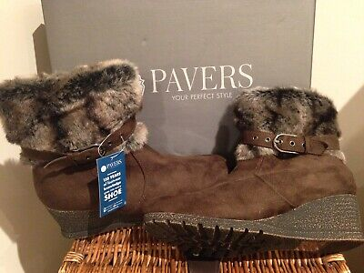 New, Ladies, Wedge, Fur Trimmed Ankle Boots. Size 5 (38) • 20£