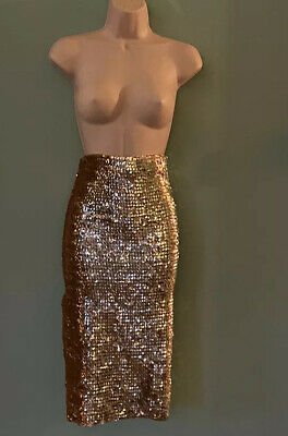 Asos Gold Sexy Sparkly Sequin Pencil Skirt, Size 10. Free P&P. • 9.60£