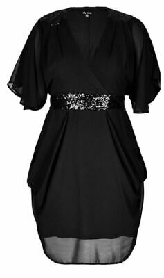 AU39.99 • Buy City Chic Ladies Black Sequin Dress Sizes 14 16 18 XS Small Medium Colour Black