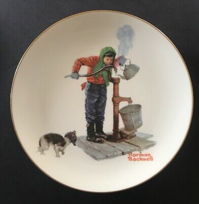 $ CDN5.13 • Buy Norman Rockwell - Gorham Collector's Plate - WINTER - CHILLING CHORE - 1977 10.5