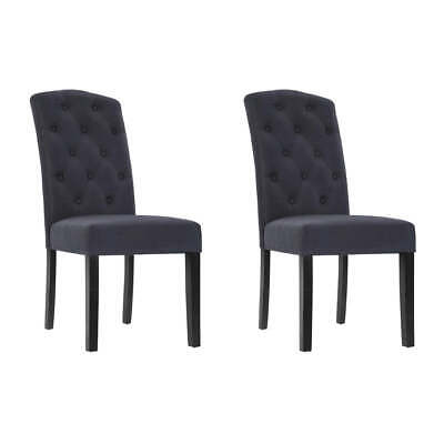 AU150.95 • Buy Artiss Set Of 2 Dining Chairs French Provincial Kitchen Cafe Fabric Padded High