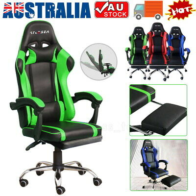 AU125 • Buy Gaming Office Chair Racing Executive Footrest Computer Seat PU Leather Backrest