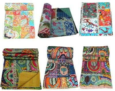 Indian Multi Patch Reversible Kantha Quilt Handmade Bedspread Twin Queen Throw • 25.50£