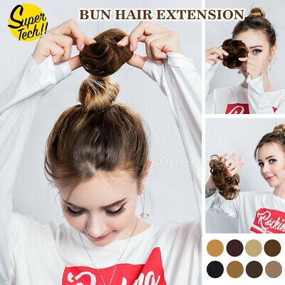 AU8.35 • Buy Natural Messy Bun Scrunchie Thick Hair Peice Curly Chignon Updo Hair Extension