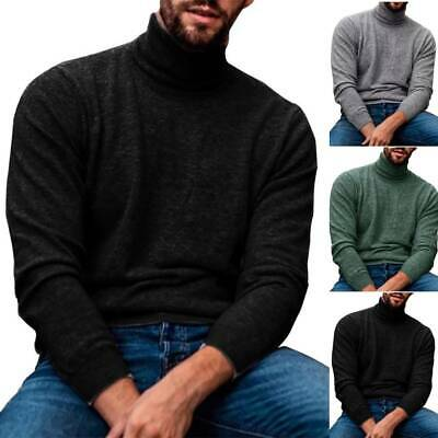 Mens Knitted Turtle Neck Pullover Jumper Casual Sweater Knitwear Winter Warm UK • 11.49£