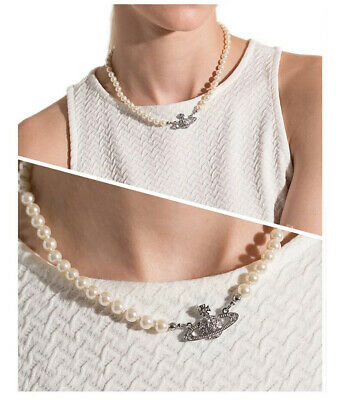 £8.99 • Buy Planet Saturn Pearl Crystal Orb Necklace Chain Wedding Valentine's Day Jewelry