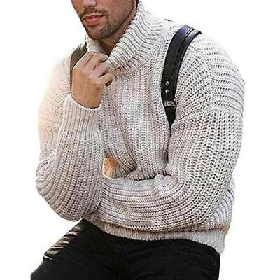 Mens Chunky Knitted Roll Turtle Neck Sweater Pullover Jumper Tops Warm Top NEW • 16.99£