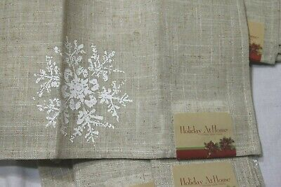 £15.99 • Buy 10 Holiday At Home Linen Napkins Farm House Christmas Stamped Snowflakes NWT