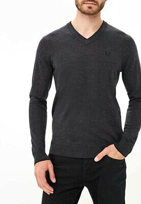 £69.80 • Buy Men's Fred Perry  V Neck Jumper 100% Merino Wool Charcoal Marl Size.M  K2505