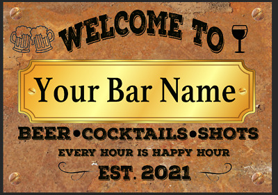 £5.39 • Buy Funny Personalised Bar Sign, Metal Tin Sign Plaque Man Cave Shed Garage Home Pub