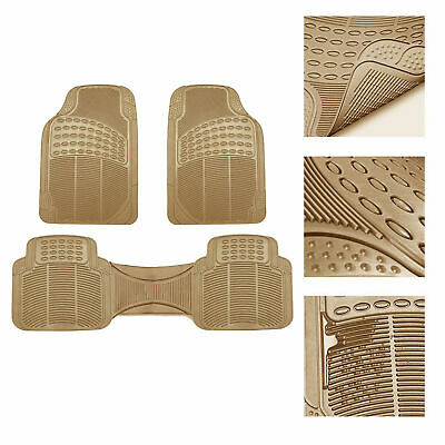 $18.99 • Buy Universal Floor Mats For Car All Weather Heavy Duty 3pc Rubber Set Beige