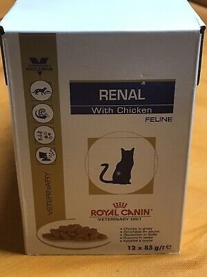 Wet Cats Food Pouches W Chicken Royal Canin Renal Feline Veterinary Diet 12x85g • 15£