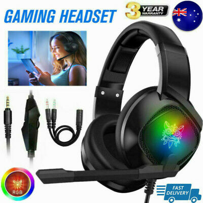 AU29.99 • Buy Pro Gaming Headset With Mic LED Headphones Surround For PC Laptop PS4 Xbox One