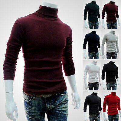 Winter Mens Turtle Neck Knitted Sweater Jumper Polo Roll Pullover Tops Tee HOT~ • 10.89£