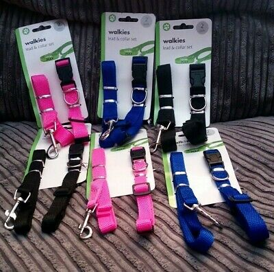 Small-Medium  Dog Puppy Collar And Lead / Leash Set In 3 Colours  Adjustable • 3.95£