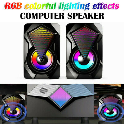 £11.09 • Buy LED Surround Sound System Wired For PC Speakers Gaming Bass Desktop Computer UK