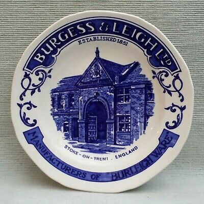Rare Blue And White Burgess And Leigh Burleigh Advertising 17.5cm Plate   • 10£