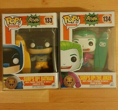 Funko POP! 1966 TV Surfs Up BATMAN And JOKER. With ATV Pop Protectors. RARE! UK! • 50£