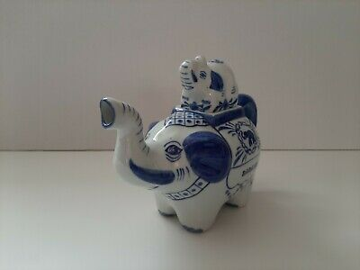 Blue Elephant Line Teapot With Baby Elephant Lid : Very Good Condition • 14.99£