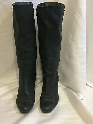 Ladies Black Smooth Suede Knee High Wedge  Boots Size 7/40 By ESPRIT • 3.30£