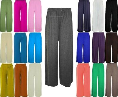 £10.99 • Buy Ladies Womens Elasticated Plazzo Flared Trousers Summer Lounge Pants Size 8-26