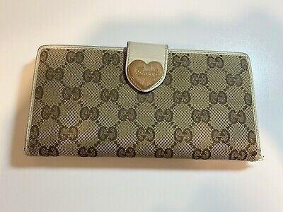 $59.99 • Buy Authentic Vintage Gucci Wallet White Heart GG Guccissima Monogram Brown #150