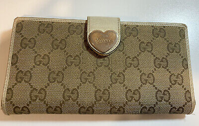 $54.99 • Buy Authentic Vintage Gucci Long Wallet White Heart GG Guccissima Brown #158