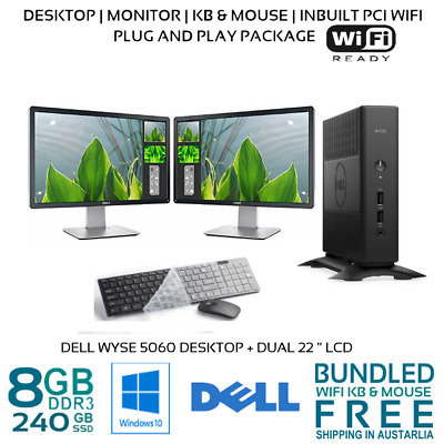 AU369.99 • Buy Computer Package Dell 5060 8GB 240GB SSD 22/24  LCD Win10P WIFI
