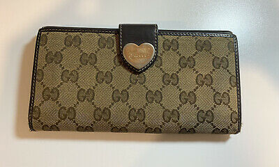 $79.99 • Buy Authentic Vintage Gucci Wallet Brown Heart GG Guccissima Monogram #162