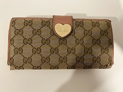 $54.99 • Buy Authentic Vintage Gucci Long Wallet Pink Heart GG Monogram Guccissima #159