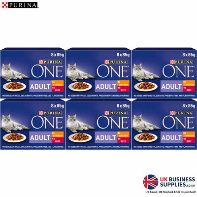 Purina ONE Adult Wet Cat Food Pouches Chicken And Beef 8 X 85g • 29.99£